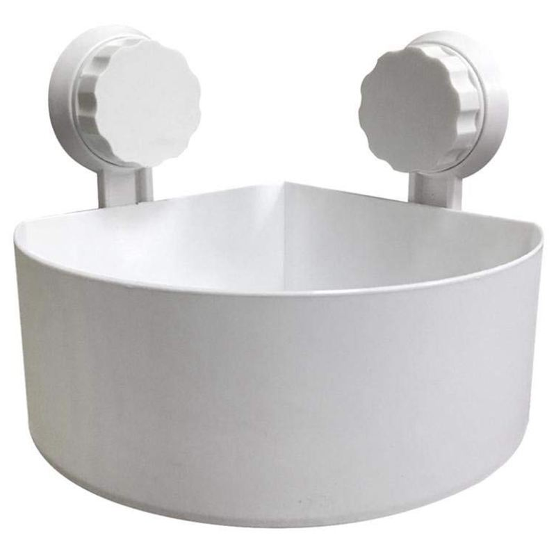 Suction Cup Bathroom Kitchen Corner Storage Rack Organizer Plastic Shower Shelf (White)