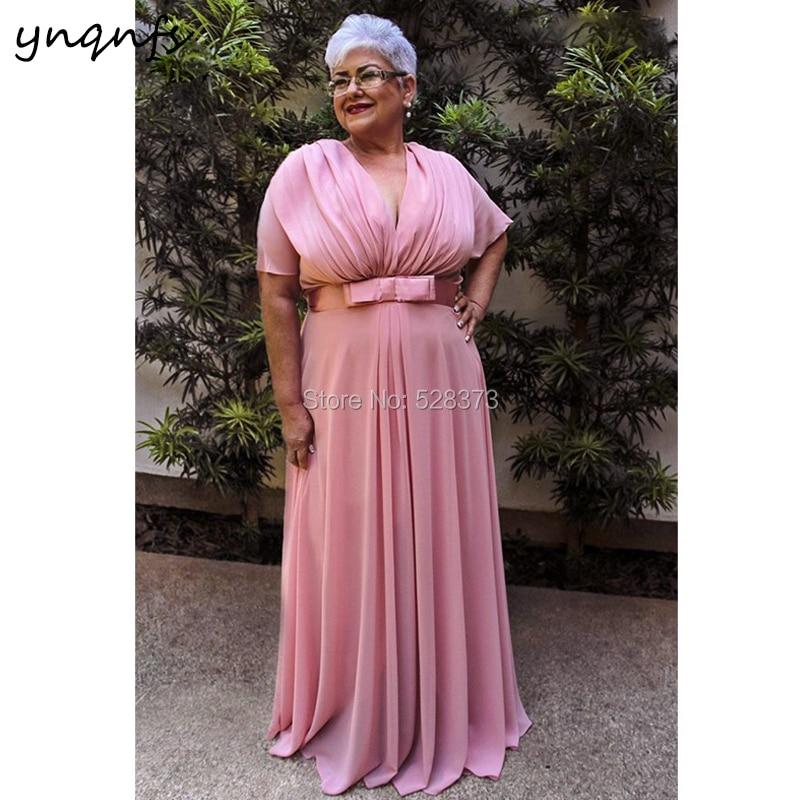 29d33d1dba751 YNQNFS M150 Elegant V Neck Short Sleeve Pink Mother of the Bride Long  Dresses Plus Size