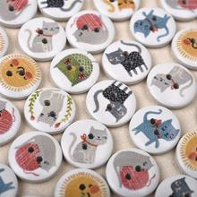 50Pcs 15mm Round Wooden Buttons 2 Holes Lovely Cat Printed Wood For Clothing Scrapbooking Decoration