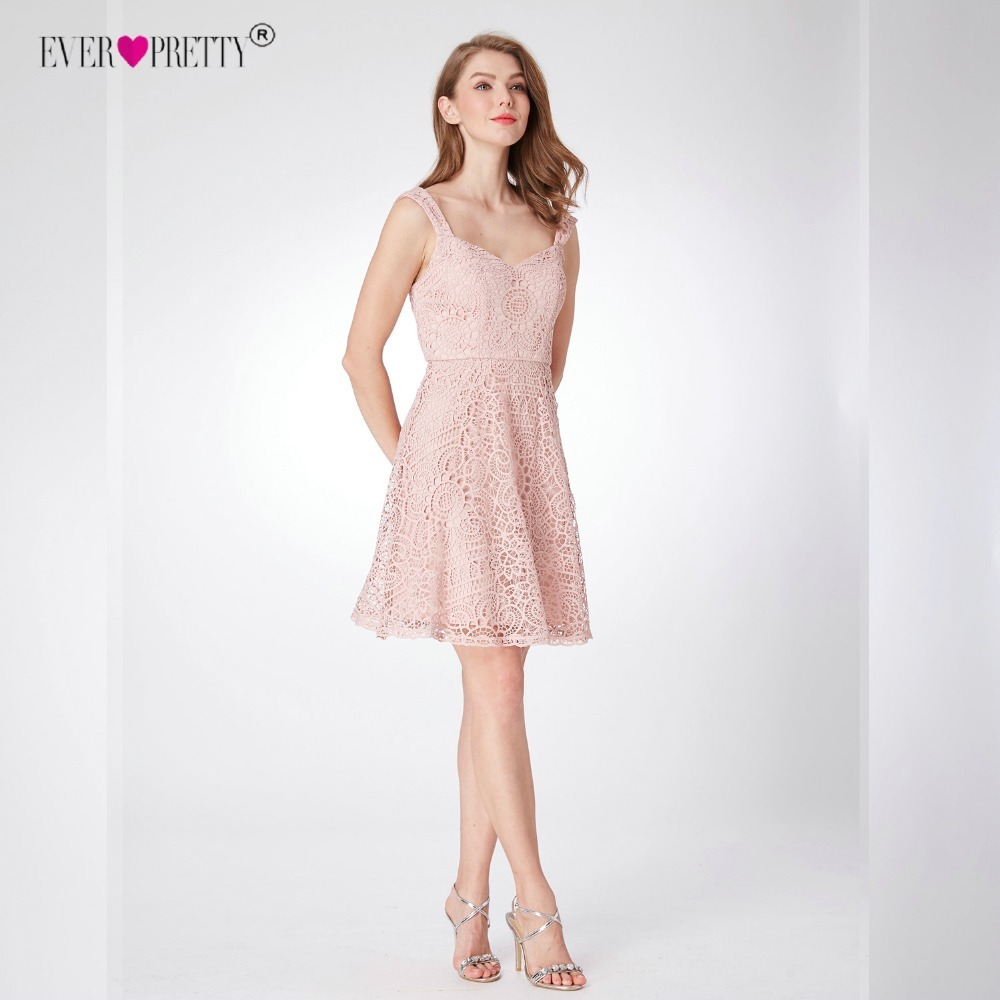 Lace   Bridesmaid     Dresses   Ever Pretty EP04038 Knee Length Women Elegant Sleeveless Party   Dress   with Zipper Back Spaghetti Straps
