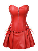 Wipalo Plus Size Strapless Lace Up Corset With Mini Skirt Sexy Zipper Solid Leather Corset Bustier Women Wire Free Intimates 2XL