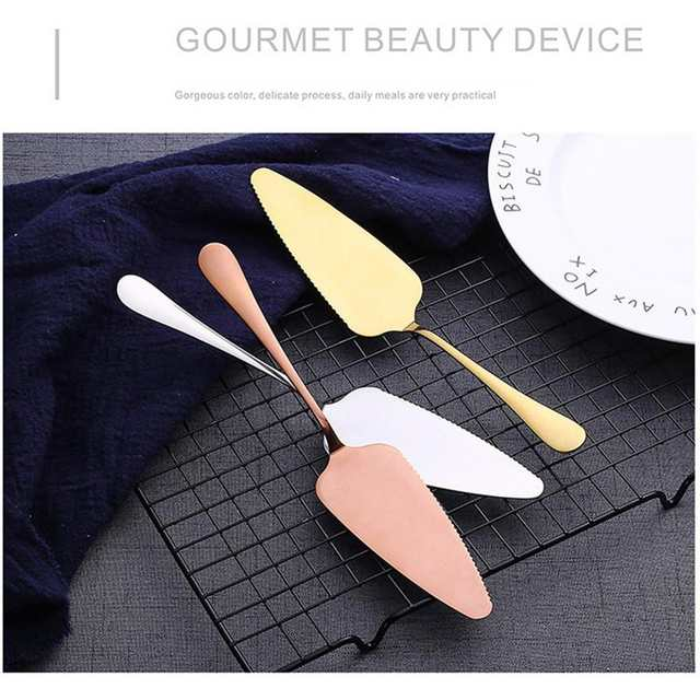 High-end Cake Shovel Stainless Steel Birthday Cake Knife Titanium Rose Gold  Bright Black Baking Tools