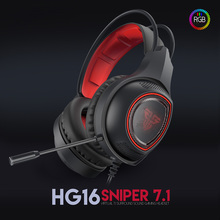 FANTECH HG16 7.1 Channel USB Wired Gaming Headset RGB Light Surround Sound Stereo Game Headphone With Mic For PC Laptop Earphone badasheng 7 1 surround sound channel usb gaming headset wired headphone mic volume control noise cancelling led for pc gamer