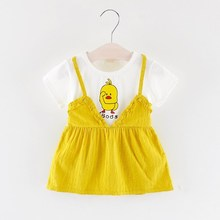 Summer New Duck Printed Casual Children Kids Baby Dresses Clothing Girls Short-sleeved Cute Soft Cotton Clothes Princess Dress new girls dress new style cotton applique embroidery long sleeved girls dress kids casual clothes brand children clothes 1 6yrs