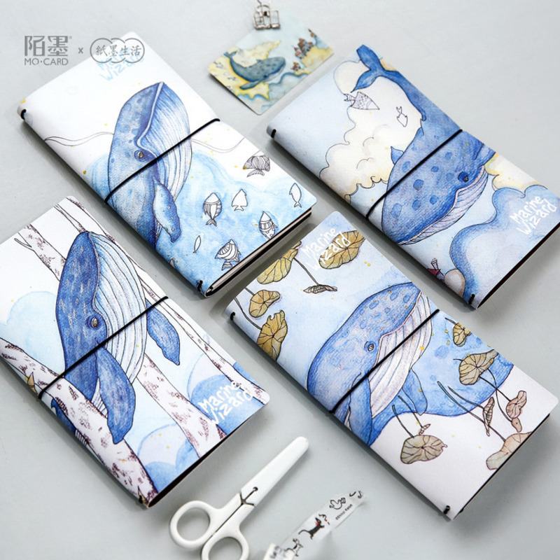Kawaii Blue whale PU Leather Cover Notebook Hand account travel Diary Book Exercise Binding Note Notepad Gift Stationery