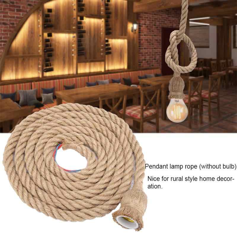 3m E27 Vintage Lamp Holder Hemp Rope Ceiling Light Base Pendant Lamp Bulb Holder 85-265V