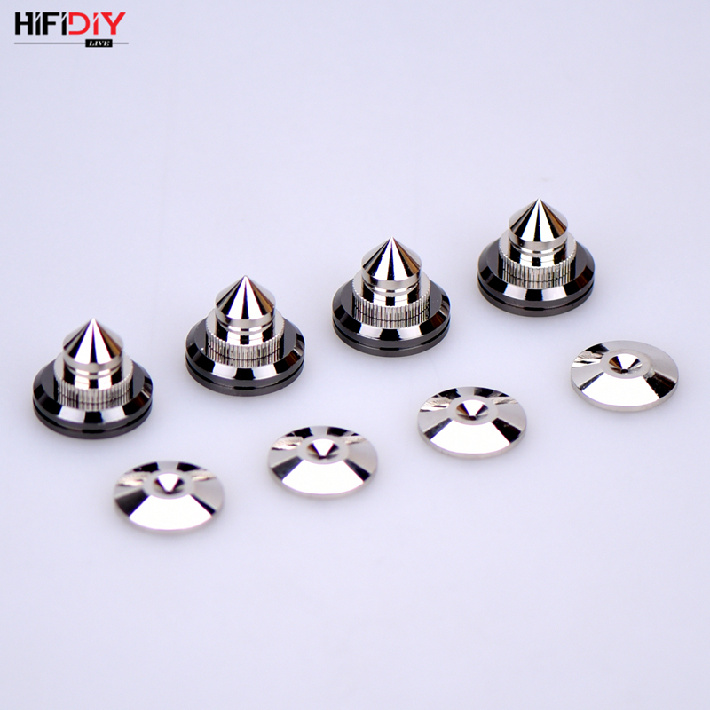HIFIDIY LIVE 4 Sets Or 4 PCS Speakers Stand Feet Foot Pad Pure Copper Silver Loudspeaker Box Spikes Cone Floor Foot Nail M28*26