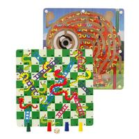 2 in 1 Children Classic Flying Chess Toy Wooden Snake Magnetic Maze Ludo Board Game Toys Kids Party Game Toys