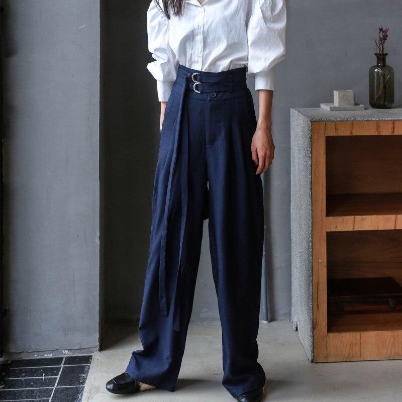 LANMREM 2018 New Fashion Casual High Waist Bandage Loose Trousers Female's Dark Blue   Wide     Leg     Pants   YE65217