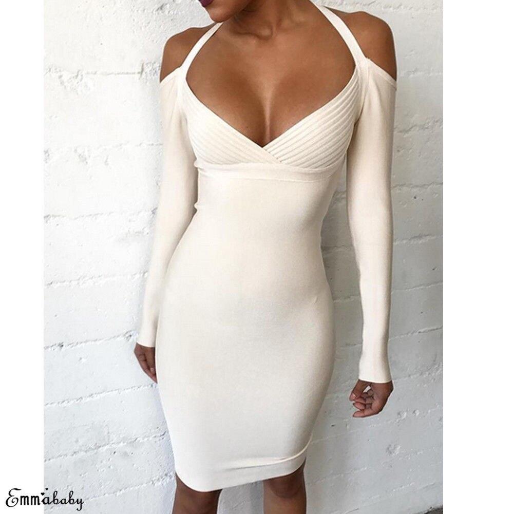 f1adb75c72 2019 Women Sexy V neck Bodycon Dress Long sleeve Cold Shoulder Evening Party  Club Slim Dresses Female Fashion Sheath Dresses-in Dresses from Women s ...