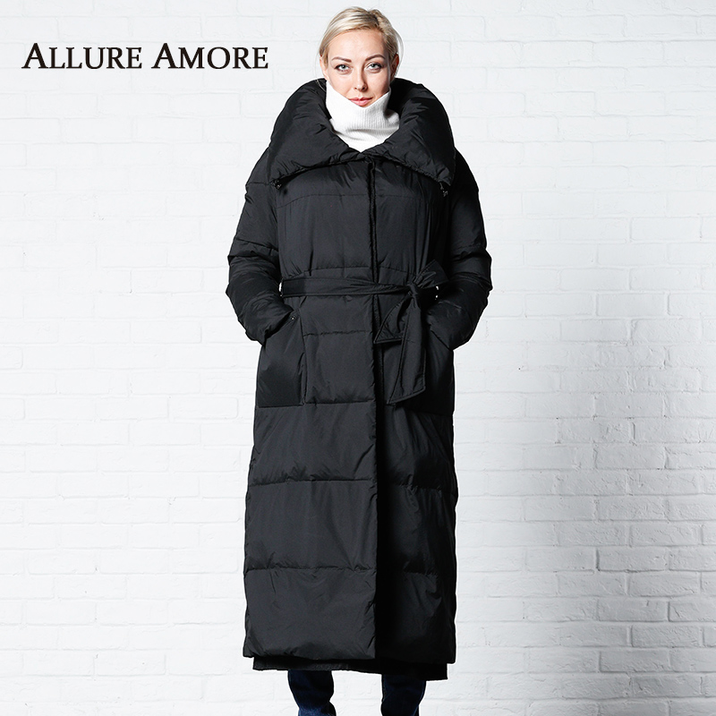 Winter Jacket Hooded Women New Women's   Parka   Female Long Jackets Woman Hat Storage Collar Coat Winter Coats Belt AllureAmore2019