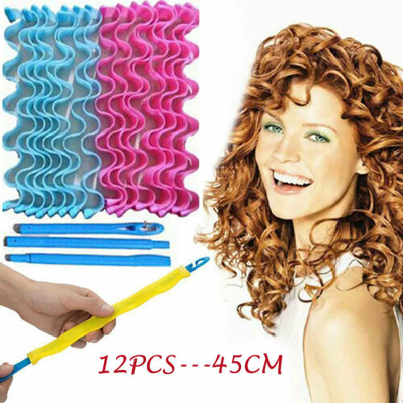 Brand New Style 12pcs Water Wave Magic Curlers Formers Leverage Spiral Hairdressing Tool 45cm