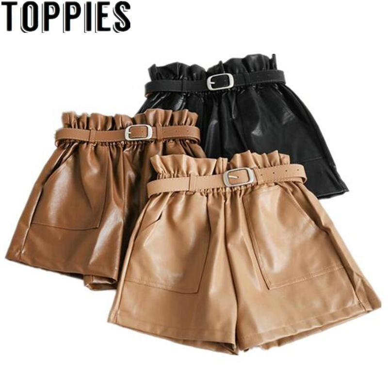 Women Winter High Waist PU Leather   Shorts   With Belt Vintage Wide Leg Leather   Shorts   Solid Color Paper   Shorts