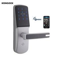 Беспроводное приложение Smart Z wave дверной замок с Wi Fi, сенсорный экран PIN код MF карта и бесключевое дистанционное управление для дома и отеля
