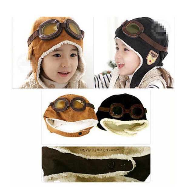 159e81360c6 Winter Fall Baby Hat Toddler Boy Girl Kids Black Brown Pilot Aviator Warm  Baby Cap Hat Beanie
