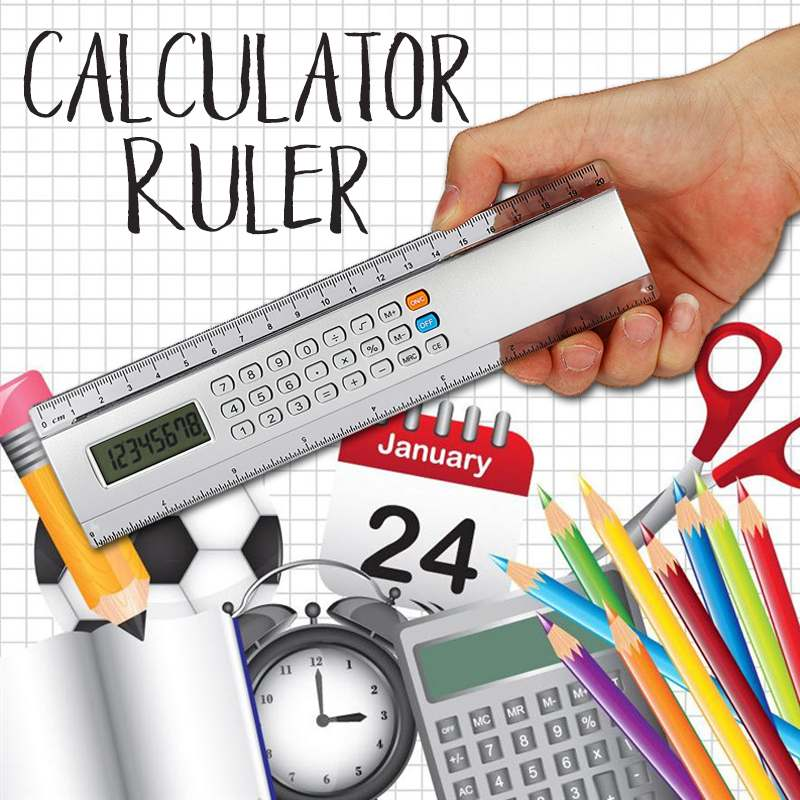 Multifunctional Ruler With Calculator 20cm Ultra-thin Measuring Tool School Office Woodworking