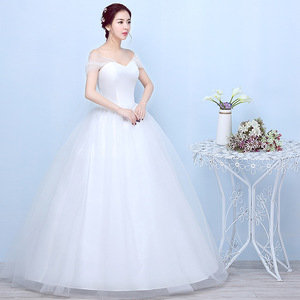 Image 2 - Princess Ivory Wedding Dress Elegant Ball Gown Sweetheart Off Shoulder Bridal Gown With Lace Back Vestido De Noiva 2020 Mariage