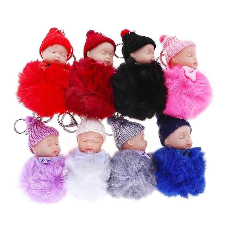 Bonito do Sono Do Bebê Boneca Falso Bola Saco De Pele De Coelho Das Mulheres Chaveiro Carro Chaveiro