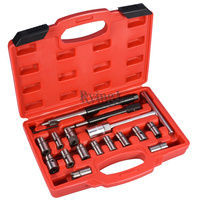YG 17 pcs Diesel Injector Cleaner Clean Carbon Remover Seat Cutter Cutting Tool Set