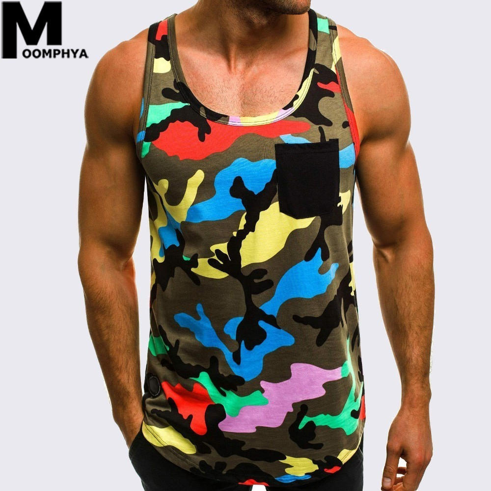 Moomphya 2019 New Camouflage Sleeveless men   tank     top   vest Streetwear Chest pocket Camo gym clothing bodybuilding   tank     top   men