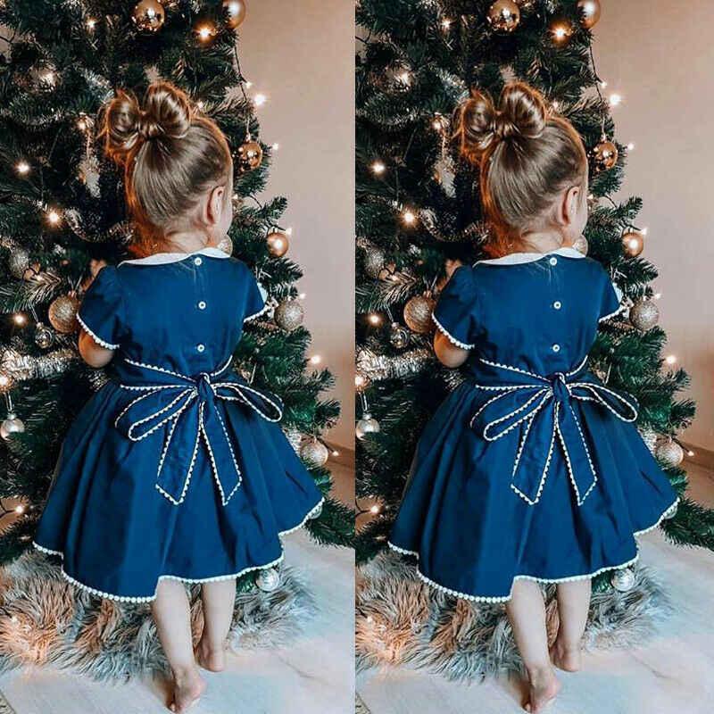 Dzieci dziewczynka sukienka kołnierz piotruś pan kwiat Tutu łuk granatowy suknia dla druchny Halloween Christmas Party księżniczka element ubioru