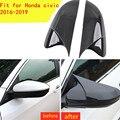 Черная/углеродное волокно цветная крышка зеркала заднего вида крышка Роговая форма ABS боковое зеркало заднего вида крышки для Honda Для Civic ...