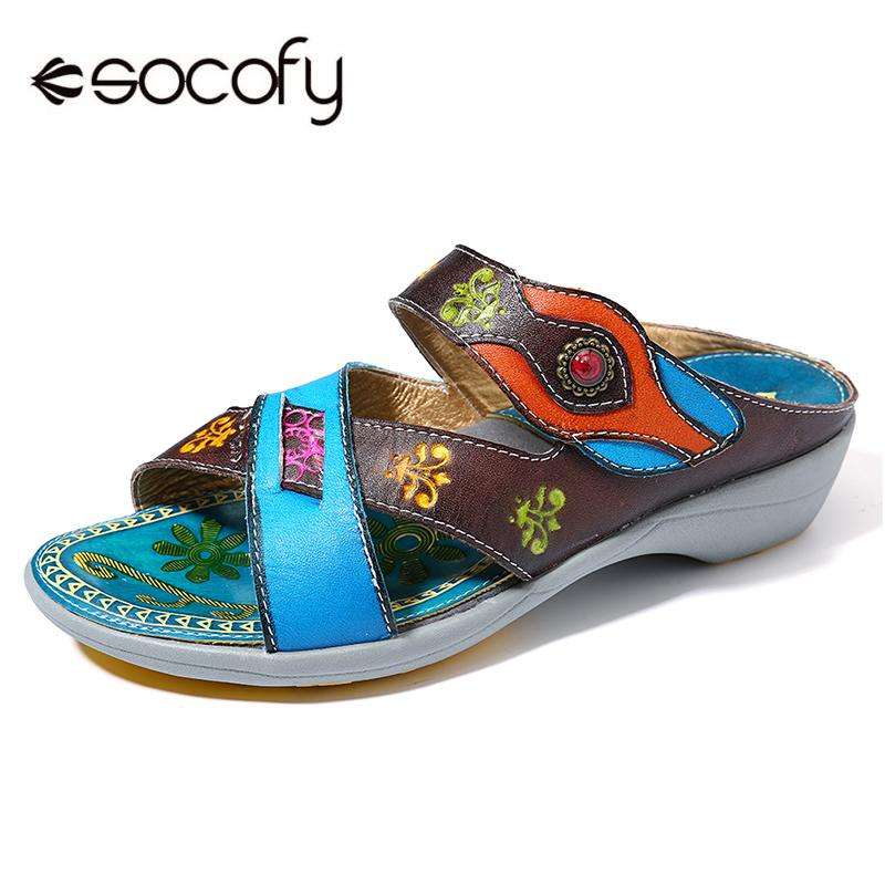 SOCOFY Comfy Genuine Leather Retro Pattern Soft Hook Loop Sprort Sandals  Retro Summer Shoes New Elegant Ladies Shoes New 2019SOCOFY Comfy Genuine Leather Retro Pattern Soft Hook Loop Sprort Sandals  Retro Summer Shoes New Elegant Ladies Shoes New 2019