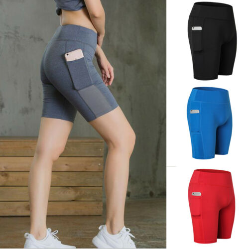 2019 Womens Ladies Solid Fitness Quick Dry Skinny Running Sports Bike Summer Shorts  With Pocket