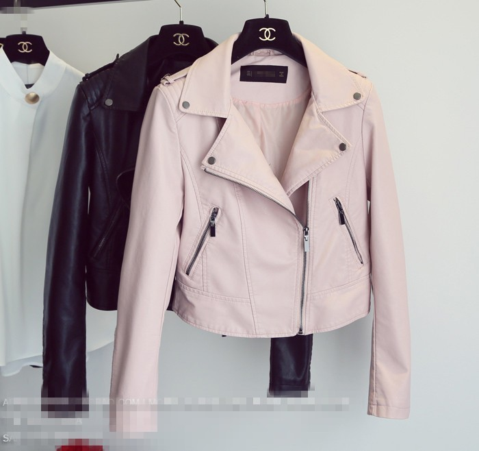 Spring 2019   Leather   PU Jacket female Fashion Bright Color Pink Motorcycle Coat Short   Leather   Zipper Biker Outerwear Jacket women