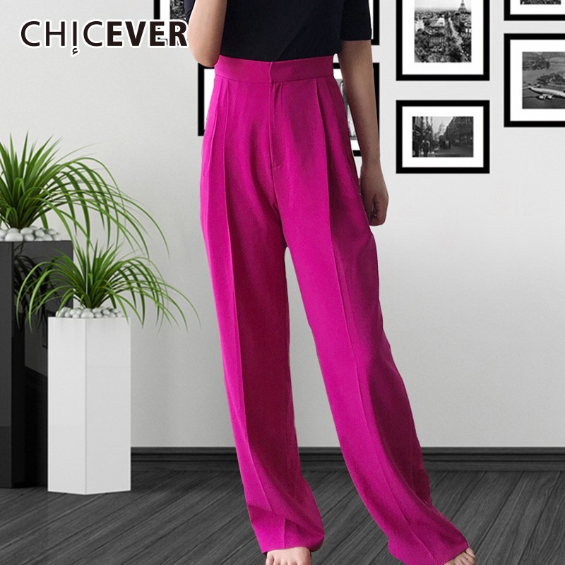 CHICEVER 2019 Spring Women's Pants Female High Waist Loose Casual Thick Trouser For Women Wide Leg Pants Fashion Elegant Tide