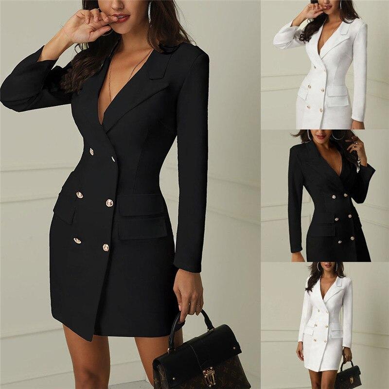 2019 Autumn Elegant Women Blazers V-Neck Long Sleeve Woolen Slim Jackets
