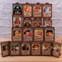 Hot Toy Anime One Piece Luffy Nami Zoro Sanji Chopper Wanted Posters Photo Frame Action Figure Collection Toy 18pcs/set