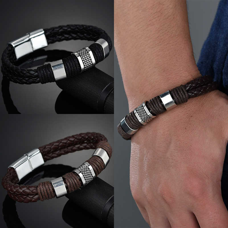 High Quality 2018 New Arrival Black Men PU Leather 1PC Punk Boys Unique Zinc Alloy Weave Knit Brown Bracelet Gifts