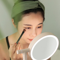 The Mirror Lamp Two sided Beautiful Makeup Mirror Bring Desktop Accept Led Dressing Mirror Small Nigh tlight