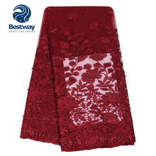 Best 2019 Newest African Lace Fabric Embroidered Beads Rhinestone Wine Red High Quality Nigerian French For Aso Ebi