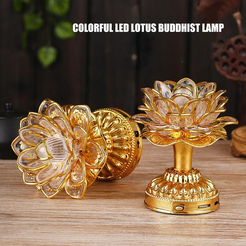 Lotus Flower Lights Buddha Bright Lamp LED Colorful Light Lotus Lanterns Buddha Prayer Machine Goddess Buddhist Music US PLUG