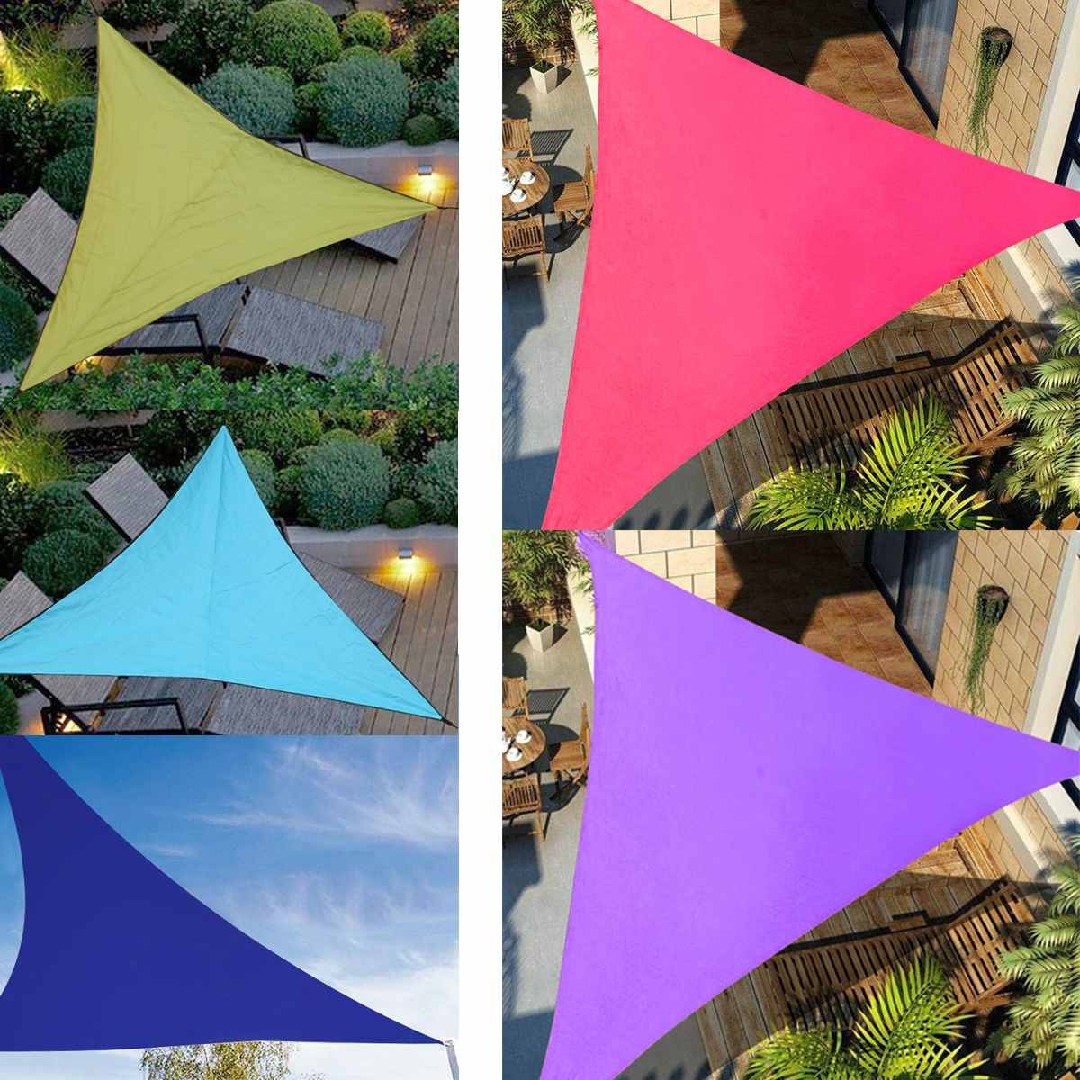 3x3m 4x4m 6x6m Waterproof Triangle Awning Shade Sail Sun Outdoor Sun Shelter Shade Sail Garden Patio Pool Camping Picnic Tent
