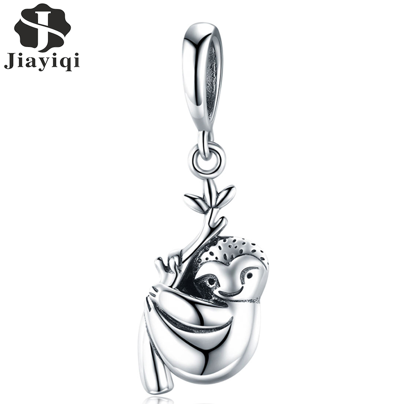 Jiayiqi 100% 925 Sterling Silver Cute And Lively Sloth Shiny CZ Charm Pendant Fit Women Charm Bracelet DIY Jewelry 2019