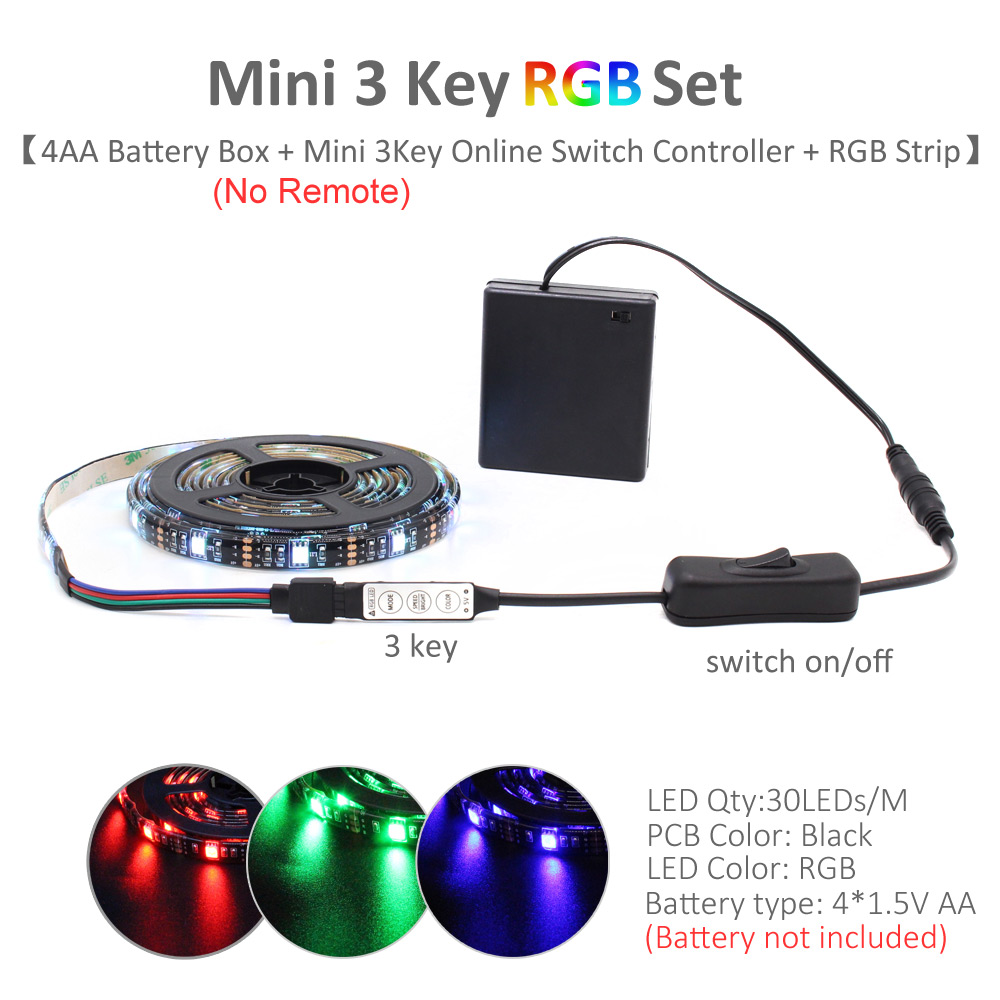 Image 4 - LED Strip Battery Powered 5050 RGB 2835 Warm Cool White 1M 2M 3M 4M 5M 5V 6V Battery Operated LED Tape Ribbon Lights Waterproof-in LED Strips from Lights & Lighting