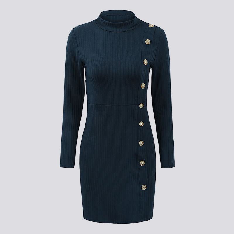 Sexy Women Autumn Knitted Dress O Neck Buttons Long Sleeve Solid Color Bodycon Slim Party Mini Dress Vestidos mujer