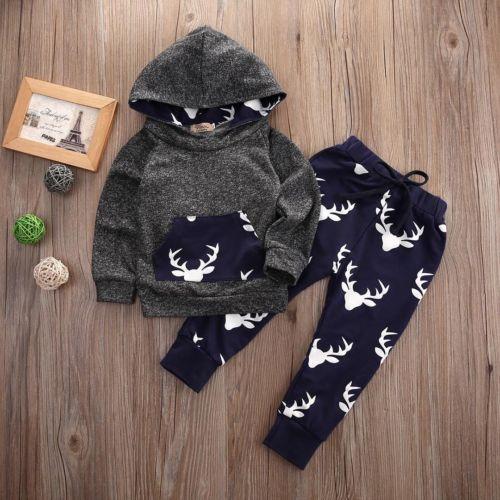Drop Shipping Autumn Winter Baby Boys Clothes Cotton Deer Hoodie Coat Pants Kids 2pcs Suit Baby Boy Clothing Sets Infant Clothin