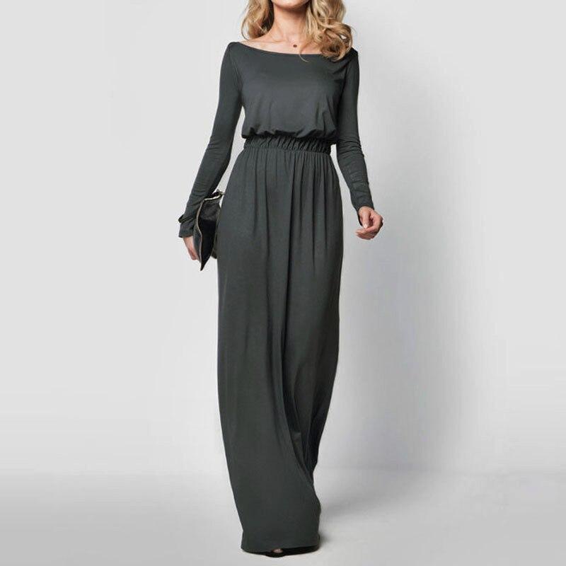 Women Elegant Maxi Dress 2019 Long Sleeve Retro Slash Neck Spring Autumn High Waist Long Party Solid Color Gown Dresses Vestidos