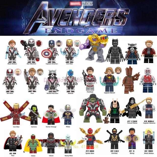 Legoings Vingadores Capitão Marvel Thanos Endgame Guardiões da Galáxia Spiderman homem de ferro Máquina de Guerra Figuras Building Blocks Brinquedos