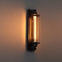 Retro czarny flet ścienny świecznik  antyczna lampa stylu industrialnym lampa metalowa na ścianę w korytarzu oświetlenie korytarz balkon galeria w Lampy ścienne od Lampy i oświetlenie na