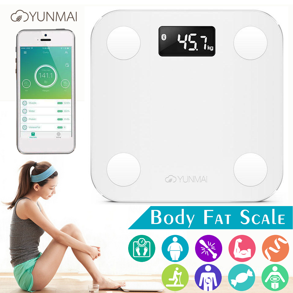 Yunmai 150kg Bathroom Scales bluetooth LED Smart Body Fat Weight Scale Monitor BMI & BMR Analyzer App for IOS Android(China)