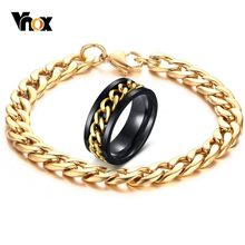 Vnox Stylish Gold Color Cuban Link Chain Spinner Ring and Bracelet Jewelry Sets for Men Stainless Steel Reliever Worry Male Gift(China)