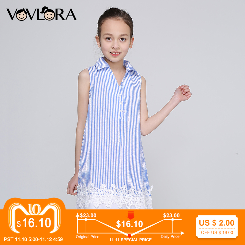 Sleeveless Girls Dresses Lace Striped Kids Dress V Neck Fashion A Line Children Dress Summer 2018 Size 9 10 11 12 13 14 Years new girls bohemia children dresses summer beach dress floral v neck sleeveless dress jumpsuits maxi dress 4 6 8 10 12 14 years