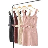 Slim Women Fall PU Leather Strap Dress Faux Leather Spring Summer Mini Dress Sexy