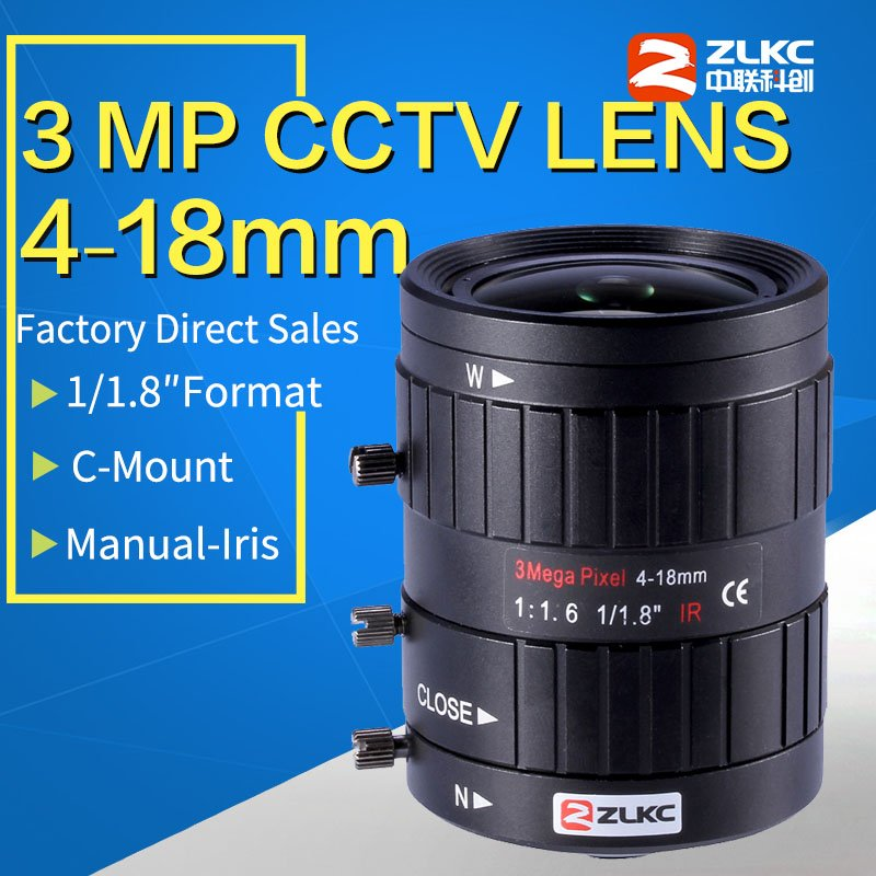 3 0 Megapixel Manual Iris Lens 4 18mm 1 1 8 Varifocal HD 3MP FA C