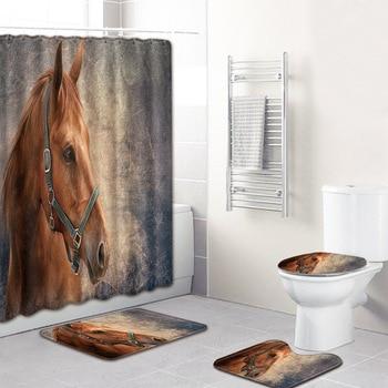 Pferdedekor Für Schlafzimmer | Nicht Slip Matte Für Schlafzimmer 4 Stücke Dusche Vorhänge Set 3D Teppiche Für Wohnzimmer Bad Matten Druck Pferd Bad Teppich Wohnkultur